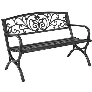 Ławka ogrodowa FLOWERS metalowa czarna