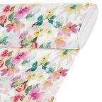Tkanina bawełniana na mb SAKURA różowo-szara w kwiaty szer. 280 cm
