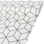 Tkanina na mb GEOMETRICO biała szer. 140 cm