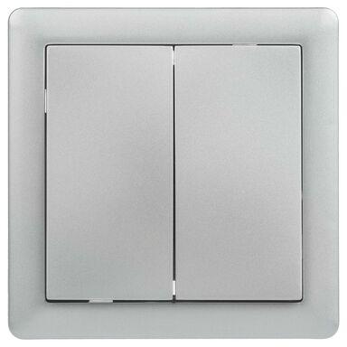 Włącznik schodowy podwójny SLIM  srebrny  LEXMAN