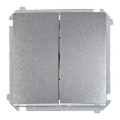 Włącznik podwójny BASIC  Srebrny  SIMON