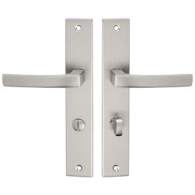 Klamka drzwiowa z długim szyldem do WC ASTER 72 Satyna KUCHINOX