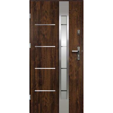 Drzwi zewnętrzne stalowe ADRIANA Orzech 90 Lewe OK DOORS TRENDLINE