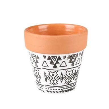 Osłonka doniczki ceramiczna 6.5 cm czarno-biała AXEL