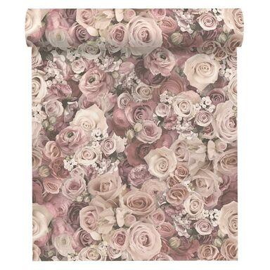Tapeta w kwiaty różowa winylowa na flizelinie