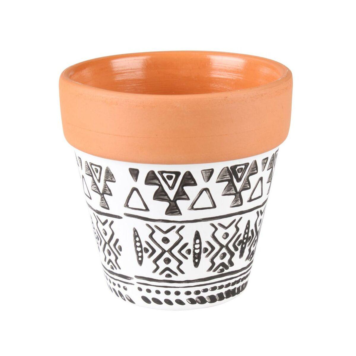 Osłonka Doniczki Ceramiczna 8 Cm Czarno Biała Axel