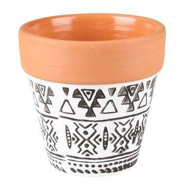Osłonka doniczki ceramiczna 8 cm czarno-biała AXEL