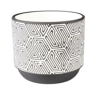 Osłonka doniczki ceramiczna 12 cm biało-czarna FOLKE