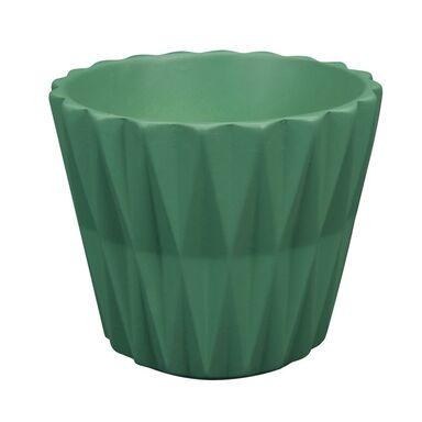 Osłonka na doniczkę 12 cm ceramiczna zielona GEOMETRIC