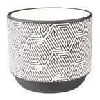 Osłonka doniczki ceramiczna 14 cm biało-czarna FOLKE