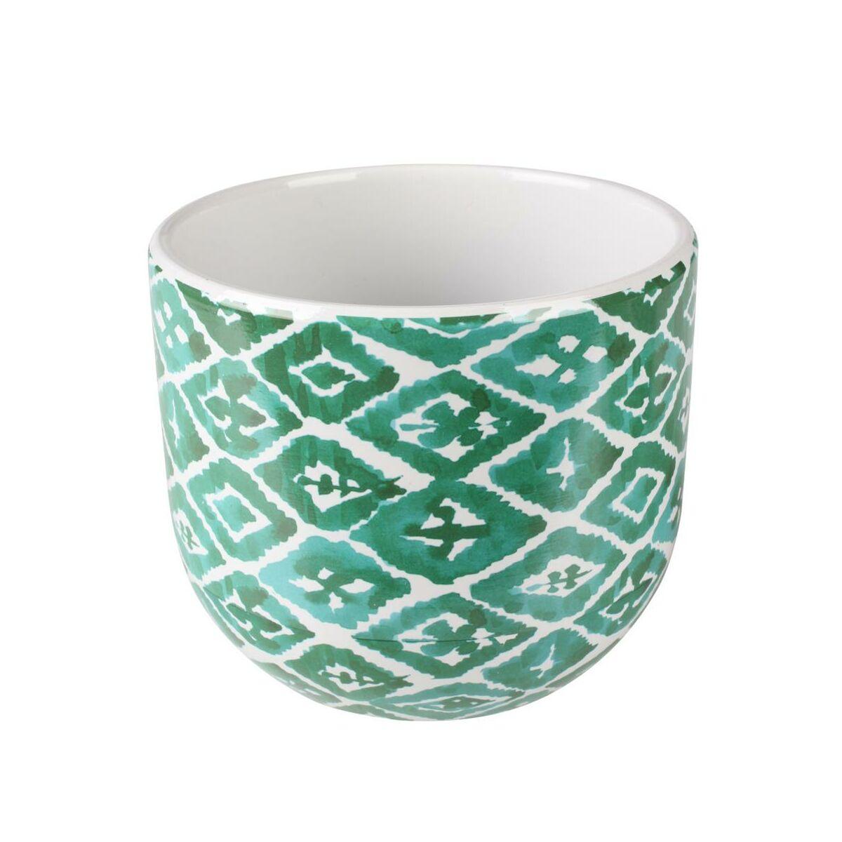 Osłonka Doniczki Ceramiczna 12 Cm Zielono Biała Hakon