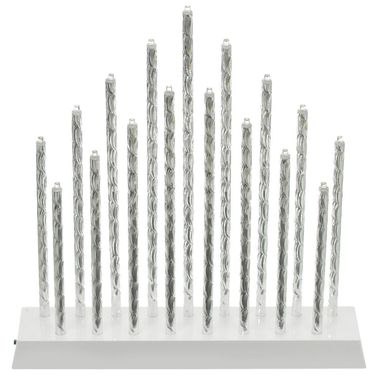 Świecznik świąteczny na baterie 17 LED srebrny 30 x 27 cm