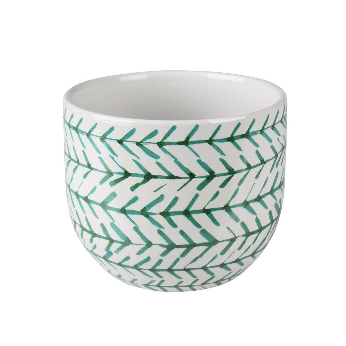 Osłonka Doniczki Ceramiczna 12 Cm Zielono Biała Mats