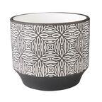Osłonka doniczki ceramiczna 12 cm biało-czarna TORKEL