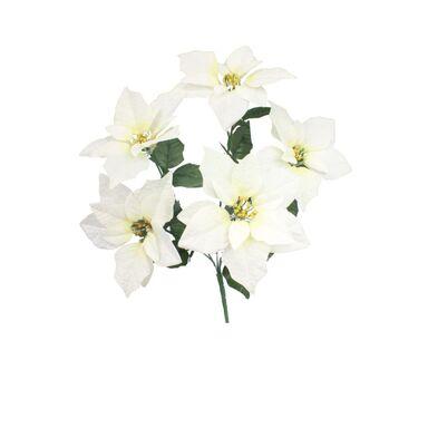 Poinsecja welurowa 48 cm 5 szt. biała