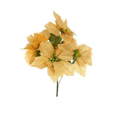 Poinsecja welurowa 50 cm 5 szt. złota