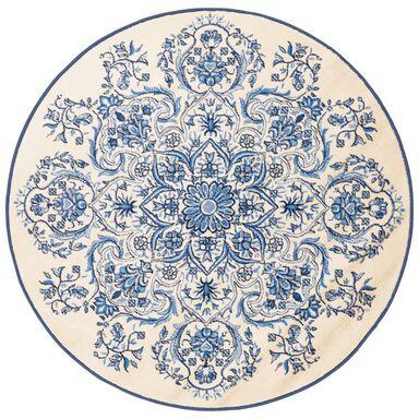 Dywan okrągły ORNAME kremowo-niebieski śr. 100 cm