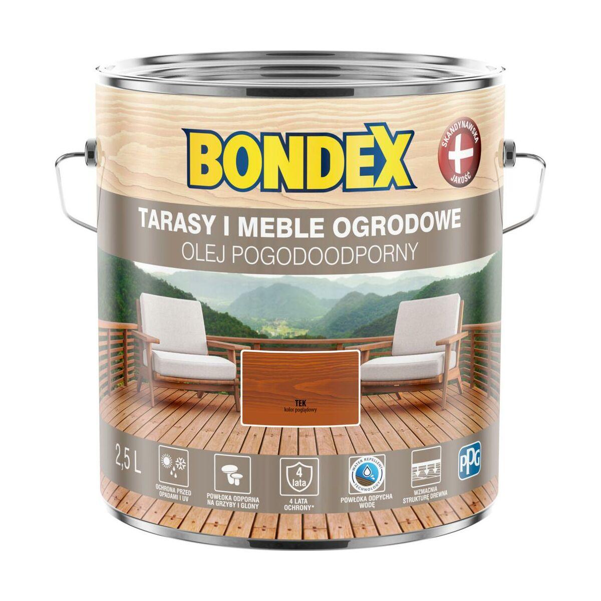 Olej Do Drewna Pogodoodporny 2 5 L Tek Bondex Preparaty I Oleje Do Tarasow W Atrakcyjnej Cenie W Sklepach Leroy Merlin