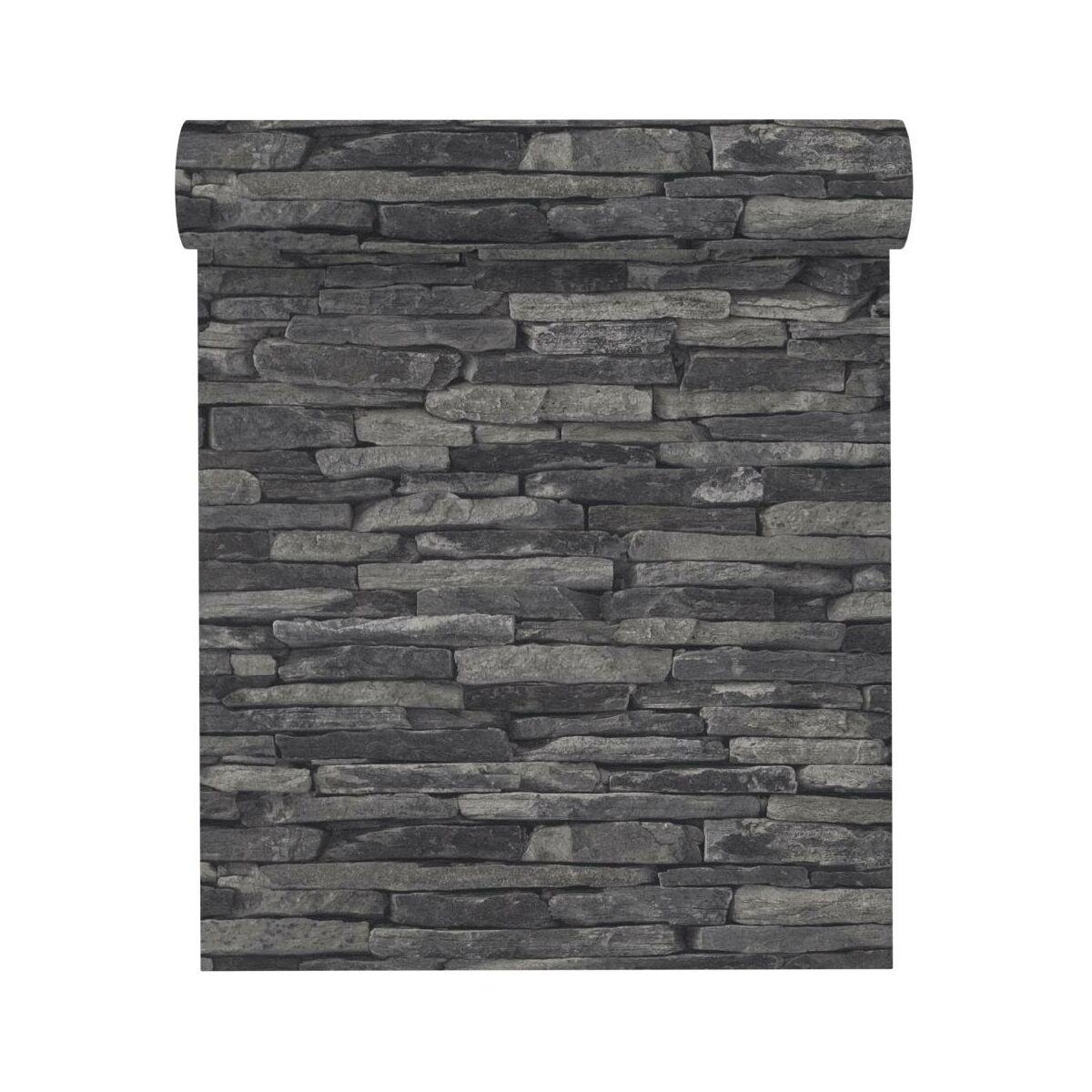 Tapeta 3d Wood Stone Czarna Imitacja Kamienia Winylowa Na Flizelinie Tapety W Atrakcyjnej Cenie W Sklepach Leroy Merlin