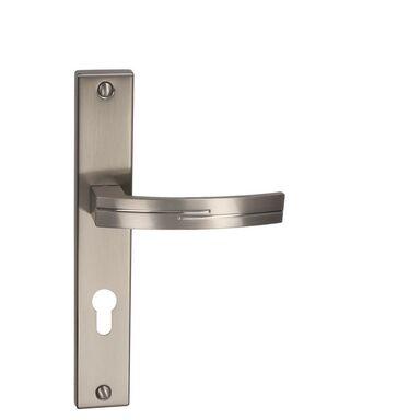 Klamka drzwiowa z długim szyldem do wkładki FLODEN 72 Nikiel szczotkowany INSPIRE