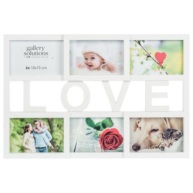Multiramka Love na 6 zdjęć 49 x 33.5 cm biała