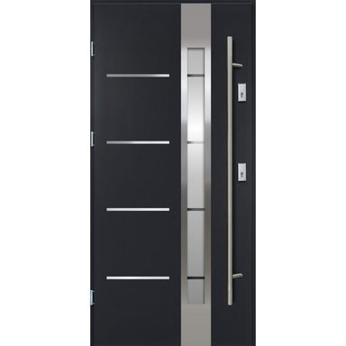 Drzwi zewnętrzne stalowe z antabą ADRIANA Antracyt 90 Lewe OK DOORS TRENDLINE