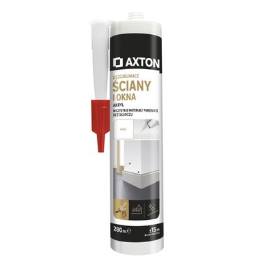 Uszczelniacz akryl ŚCIANY I OKNA 280 ml biały AXTON