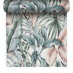 Tapeta w egzotyczne liście zielono-różowa winylowa na flizelinie
