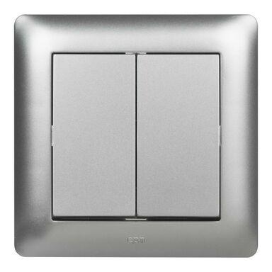 Włącznik podwójny ASTORIA  srebrny  ELEKTRO-PLAST