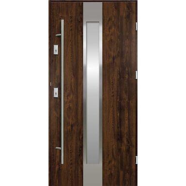 Drzwi zewnętrzne stalowe  Neptun Orzech 90 Prawe Ok Doors Trendline