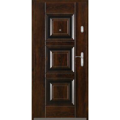 Drzwi zewnętrzne stalowe  QUADRAT 2 Mahoń 90 Lewe