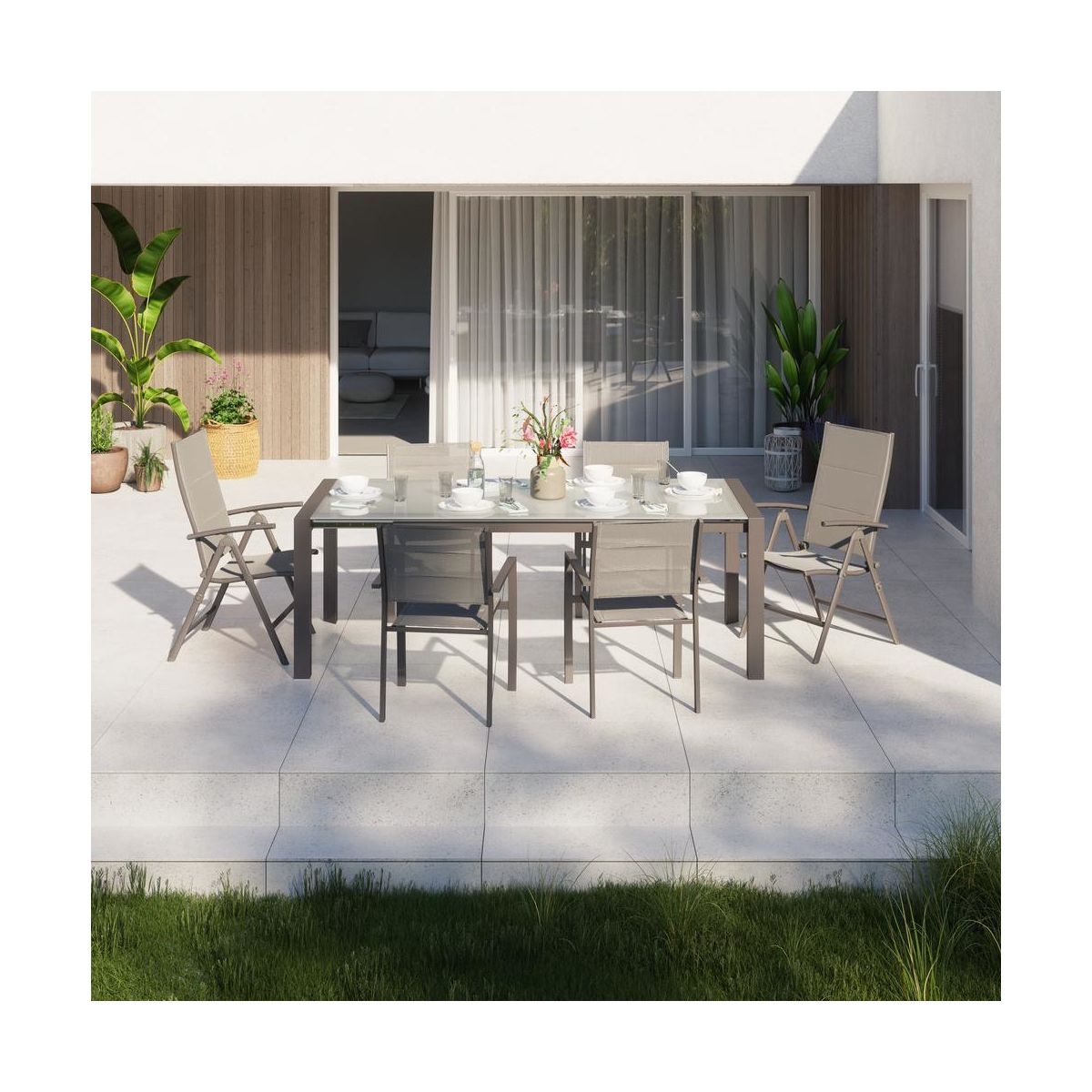 NATERIAL Krzesło ogrodowe ORION aluminiowe z ragulowanym oparciem NATERIAL