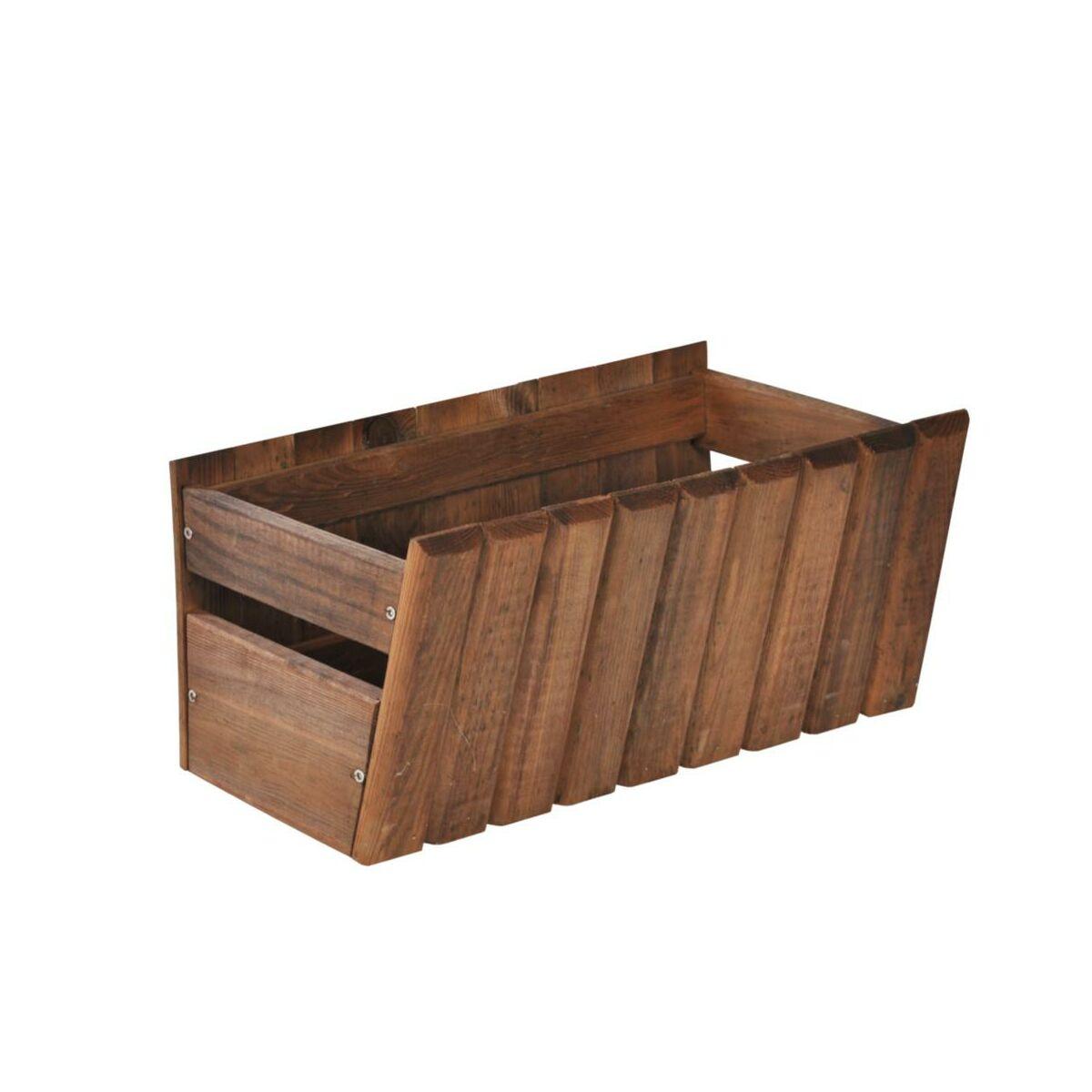 Donica / skrzynka balkonowa 40 x 20 cm drewniana brązowa STOKROTKA SOBEX