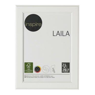 Ramka na zdjęcia LAILA 21 x 29.7 cm biała MDF INSPIRE