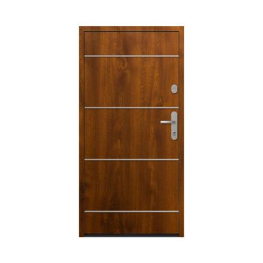 Drzwi zewnętrzne stalowe antywłamaniowe RC2 Alberta90 lewe złoty dąb Loxa