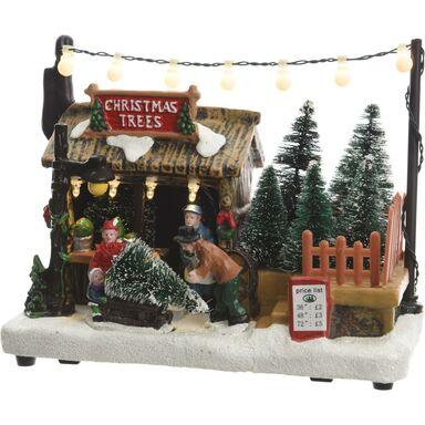 Wioska świąteczna sklep z choinkami 14 x 10.5 cm