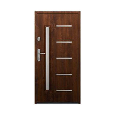 Drzwi zewnętrzne stalowe antywłamaniowe RC2 Waterloo 90 prawe orzech Loxa