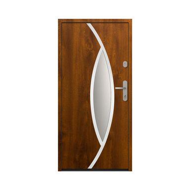 Drzwi zewnętrzne stalowe antywłamaniowe RC2 Ottawa Złoty Dąb 90 lewe  Loxa